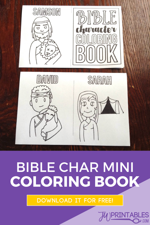 Bible Character Mini Coloring Book - JW Printables