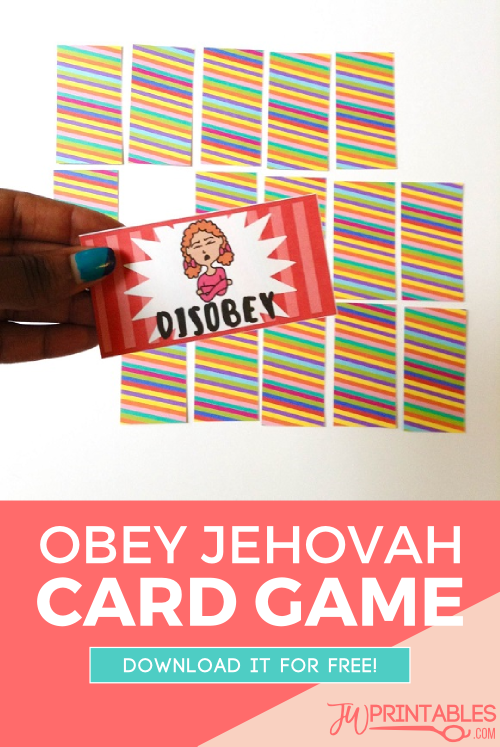 obey jehovah card game pin