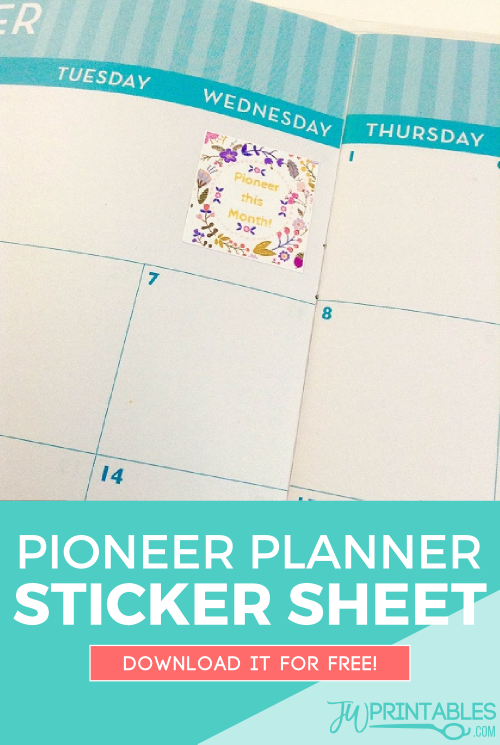 pioneer planner sticker sheet pin