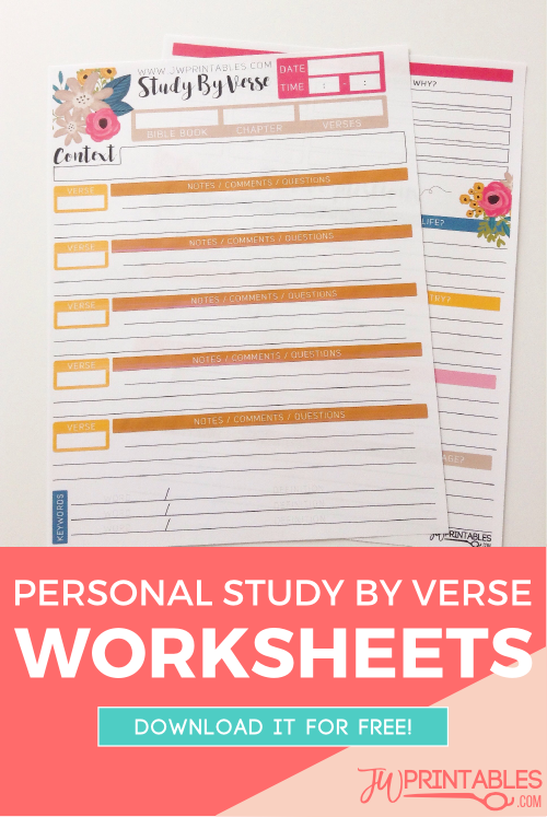 photograph relating to Printable Bible Study Worksheets identify JW Person Bible Investigate Sheets -Review By way of Verse - JW Printables
