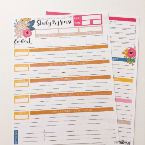 picture relating to Printable Bible Study identified as JW Individual Bible Investigate Sheets -Review By way of Verse - JW Printables