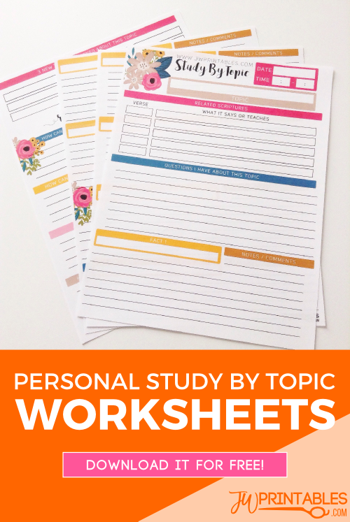 JW Personal Bible Study Sheets -Study By Topic - JW Printables