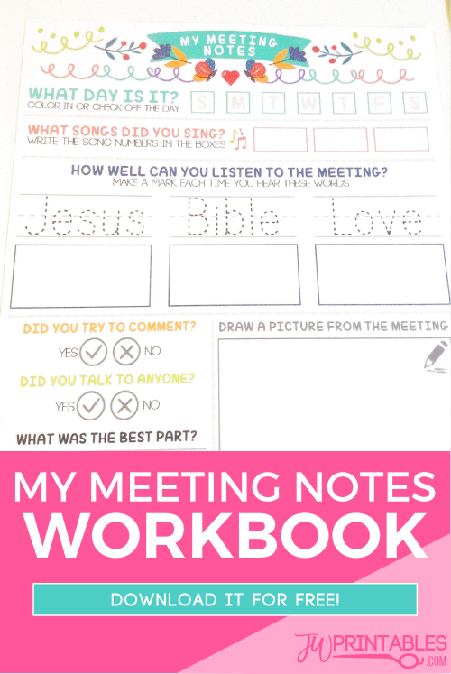 My Meeting Notes Workbook For Kids - JW Printables