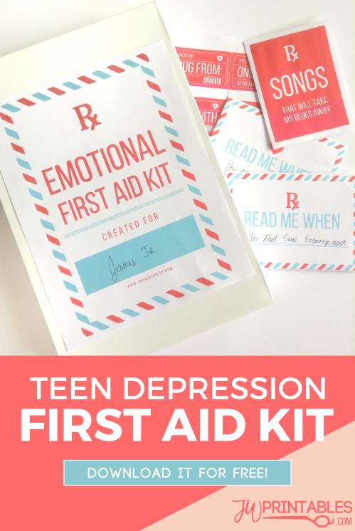 Teen Depression First Aid Kit - JW Printables