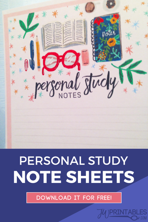 Personal Study Notes Sheet - JW Printables