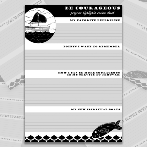 Be Courageous Convention Review & Reflection Sheet - JW