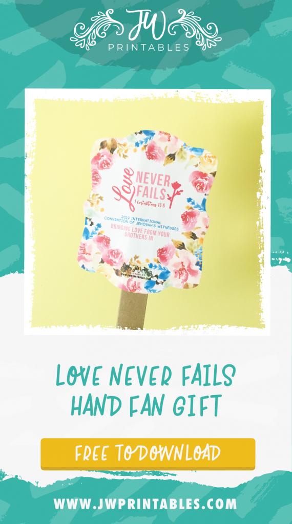 Love Never Fails Convention Fan - JW Printables